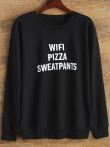 Text Print Crewneck Sweatshirt - Black L