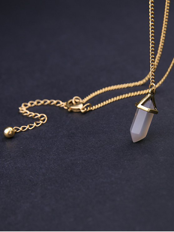 Bullet Natural Stone Necklace - GOLDEN  Mobile