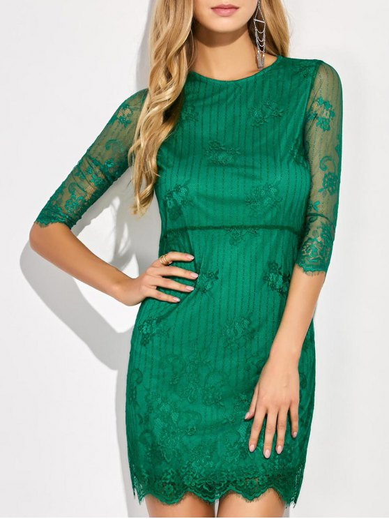 outfits Scalloped Mini Floral Lace Dress - GREEN XL