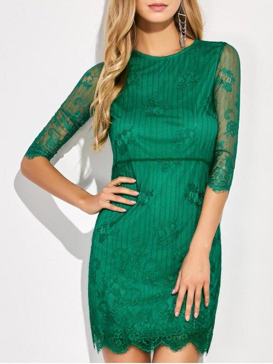 shop Scalloped Mini Floral Lace Dress - GREEN L