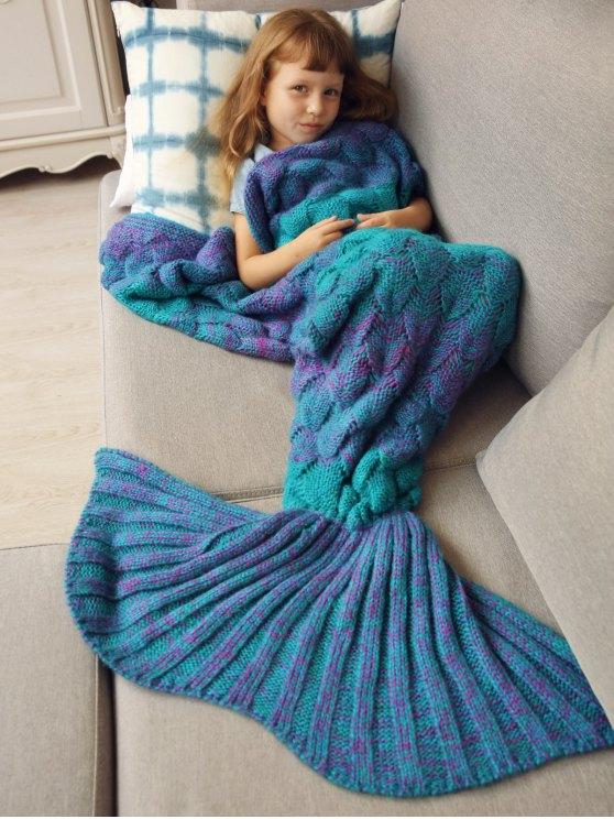 Kids Sleeping Bag Knitted Mermaid Blanket - BLUE  Mobile