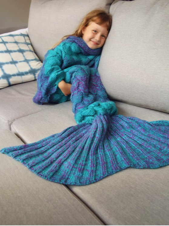 Kids Sleeping Bag Knitted Mermaid Blanket - BLUE  Mobile