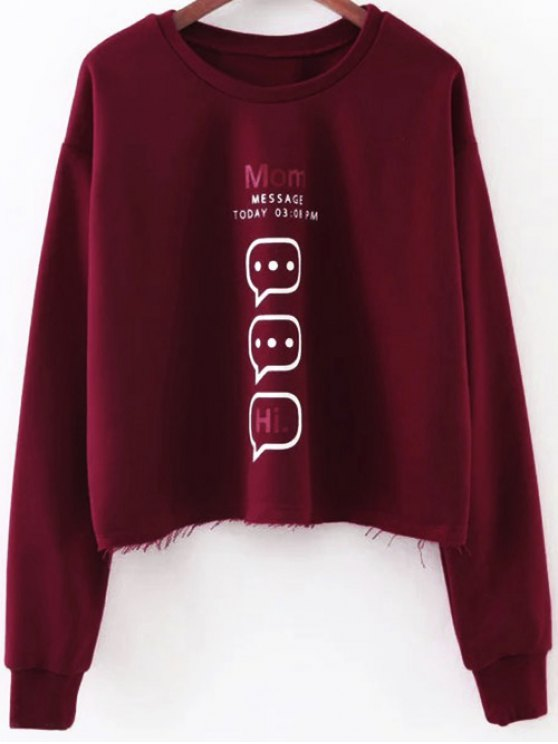 Raw Edge Graphic Sweatshirt - RED S Mobile