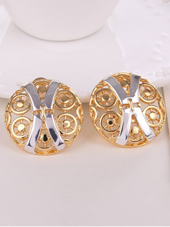 Hollow Out X Shape Round Jewelry Set -   Mobile