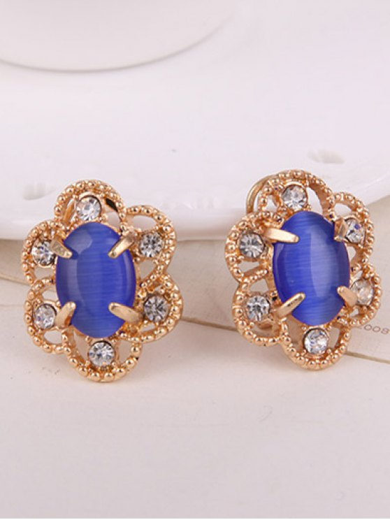 Rhinestone Floral Faux Opal Jewelry Set -   Mobile