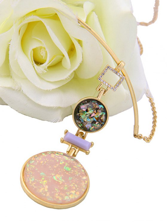 Fake Gem Round Pendant Necklace -   Mobile