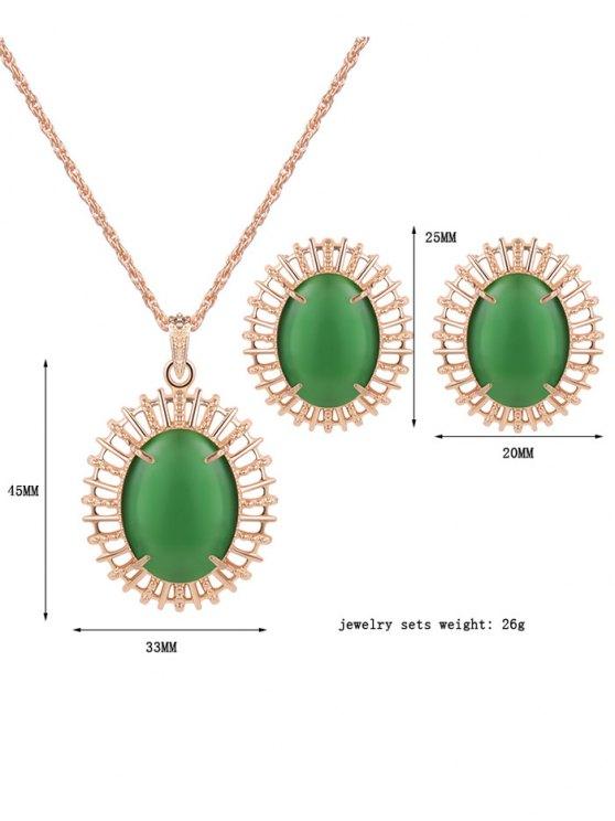 Oval Fake Opal Jewelry Set -   Mobile
