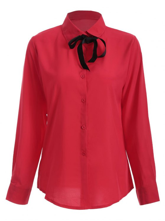 Bowknot Long Sleeve Button Up Shirt - RED L Mobile