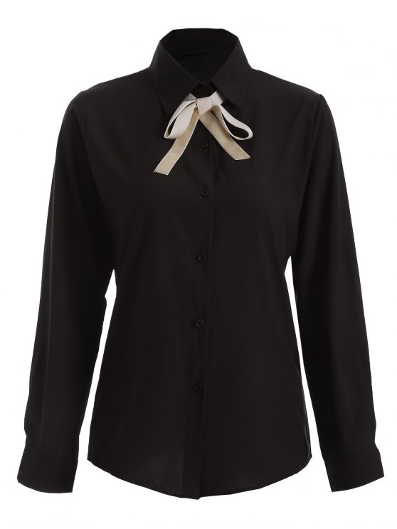Bowknot Long Sleeve Button Up Shirt - BLACK L Mobile