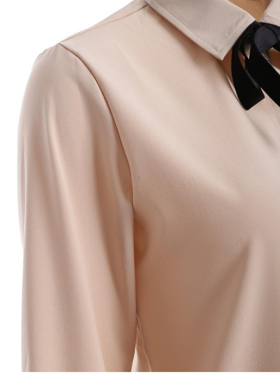 Bowknot Long Sleeve Button Up Shirt - APRICOT M Mobile