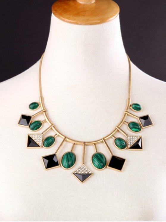 Geometry Fake Gemstone Pendant Necklace -   Mobile