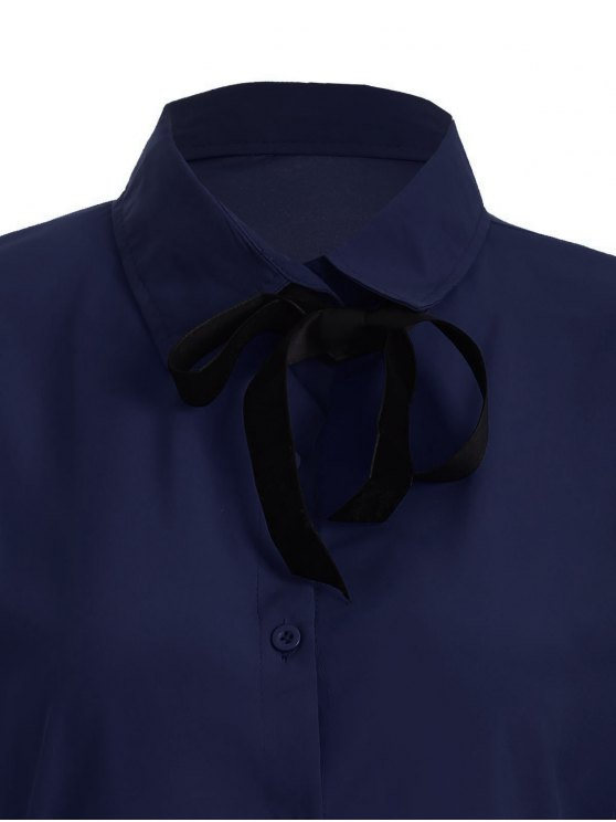 Bowknot Long Sleeve Button Up Shirt - DEEP BLUE L Mobile