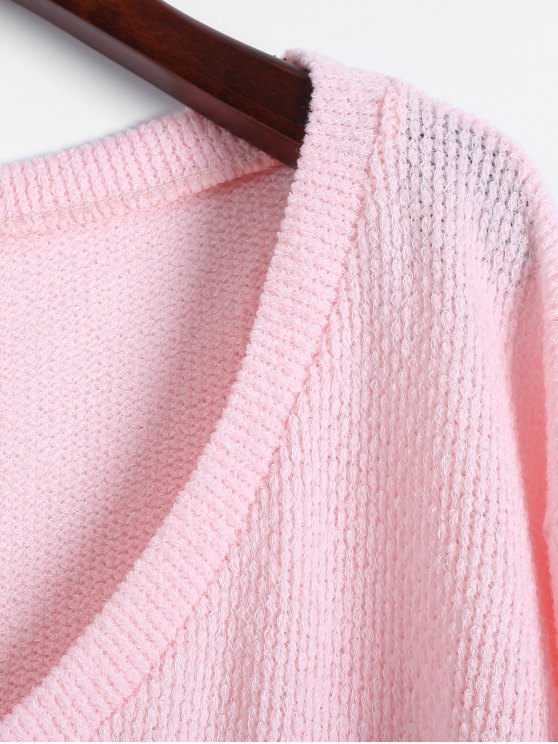Long Sleeve V Neck Jumper - PINK S Mobile