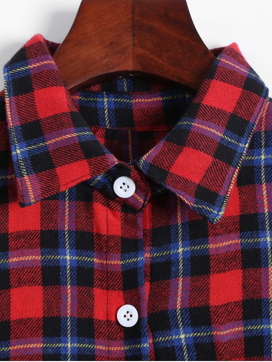Plaid Buttoned Cold Shoulder Shirt - MULTICOLOR S Mobile