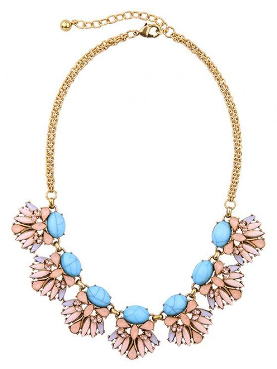 Floral Faux Sapphire Necklace -   Mobile
