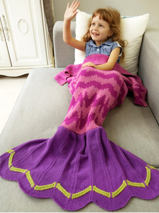 Knitted Bedding Fish Tail Blanket -   Mobile