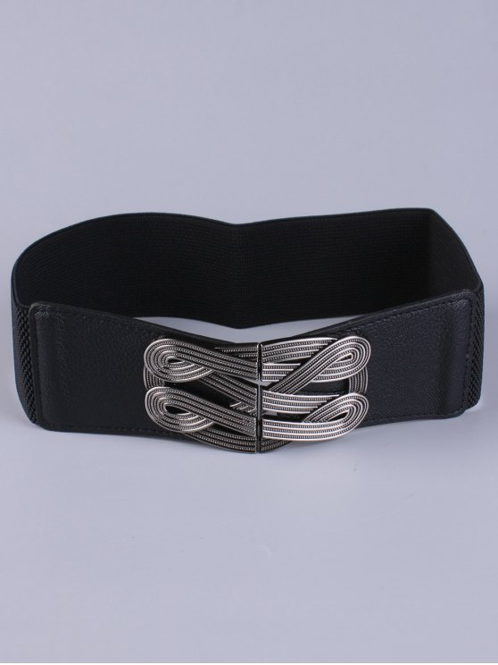 Faux Leather Stretch Belt - BLACK  Mobile