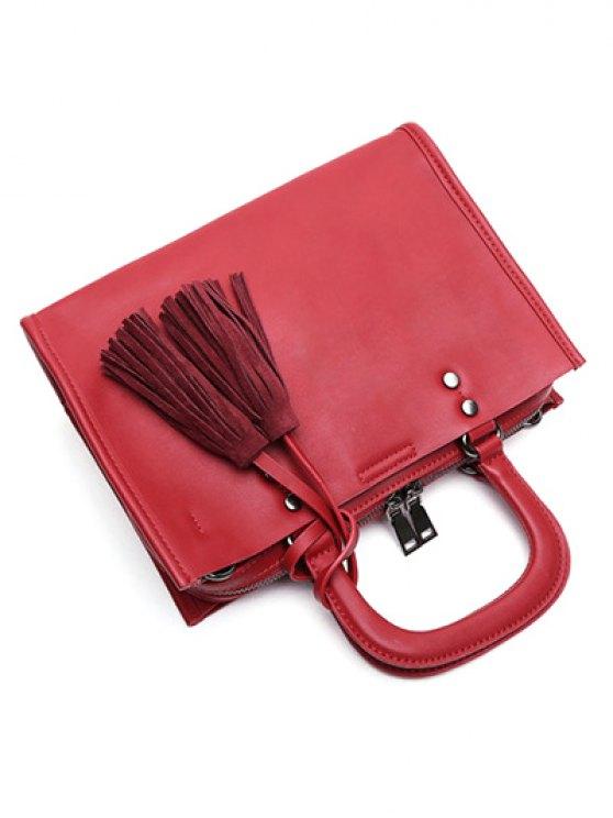 Metal Tassels Magnetic Closure Tote Bag - RED  Mobile