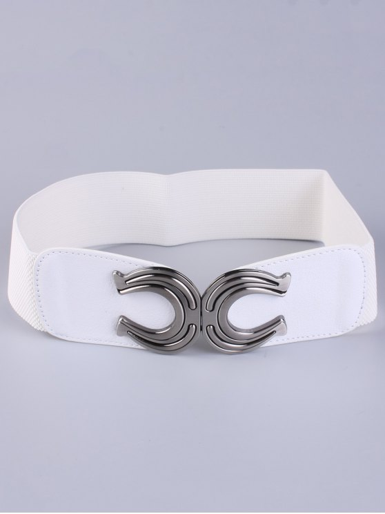 X Shape Buckle Elastic Belt - WHITE  Mobile