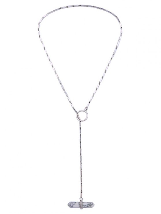 Geometry Natural Stone Necklace - SILVER  Mobile