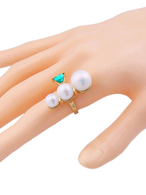 Faux Pearl Geometric Gem Cuff Ring -   Mobile