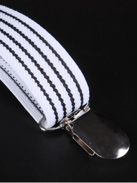 Elastic Striped Adjustable Suspenders - WHITE  Mobile