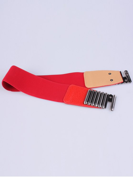 Bowknot Decorative Elastic Wide Belt - RED  Mobile
