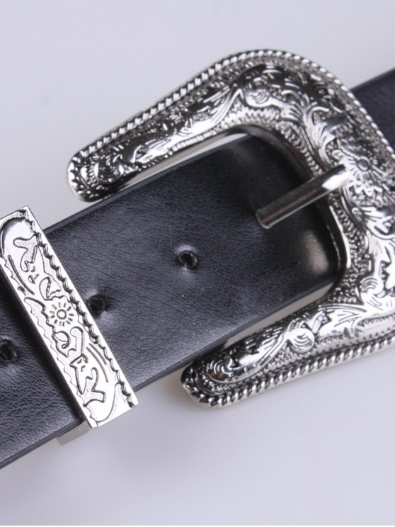 PU Double Pin Buckle Belt - SILVER  Mobile