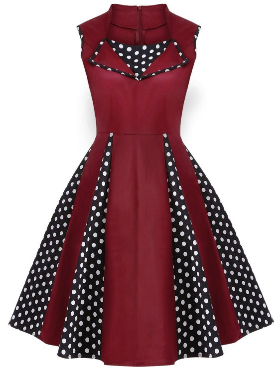new Vintage Sleeveless Polka Dot Dress - BURGUNDY XL