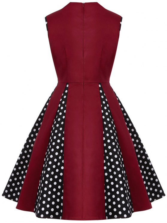 Vintage Sleeveless Polka Dot Dress - BURGUNDY 4XL Mobile