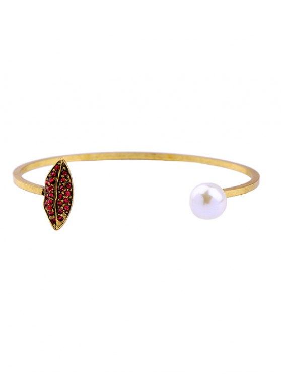 Brazalete de perlas falso embellecido Rhinestone - Dorado