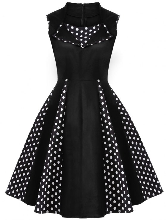 Vintage Sleeveless Polka Dot Dress - BLACK S Mobile