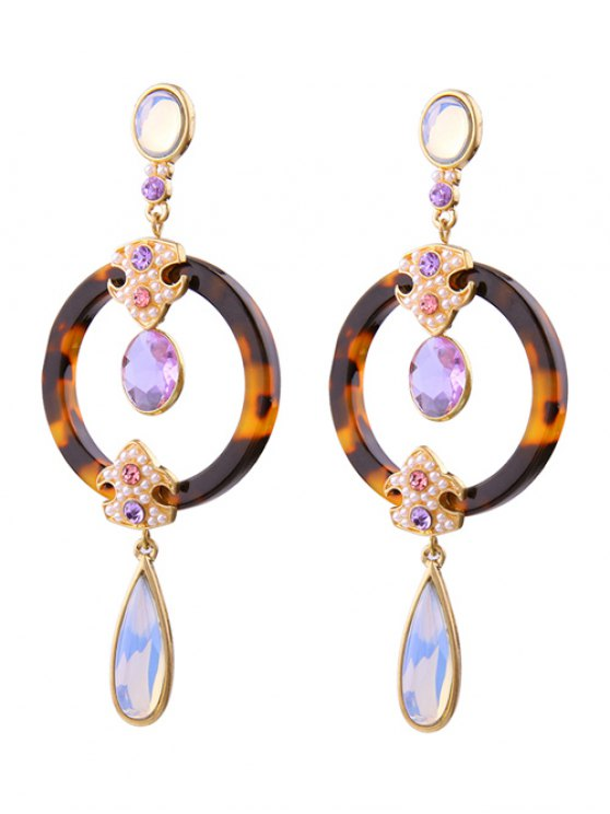 Leopard Water Drop Faux Crystal Earrings -   Mobile