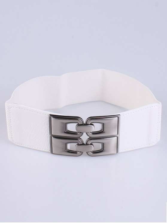 PU Alloy Elastic Wide Belt - WHITE  Mobile