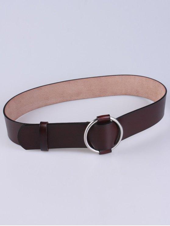 PU Round Buckle Adjustable Belt - MAROON  Mobile