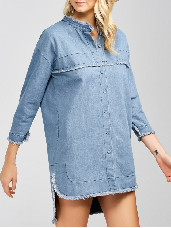 High-Low Denim Dress - LIGHT BLUE L Mobile