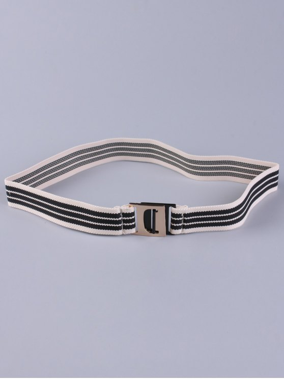Striped Elastic Wide Belt - BLACK  Mobile