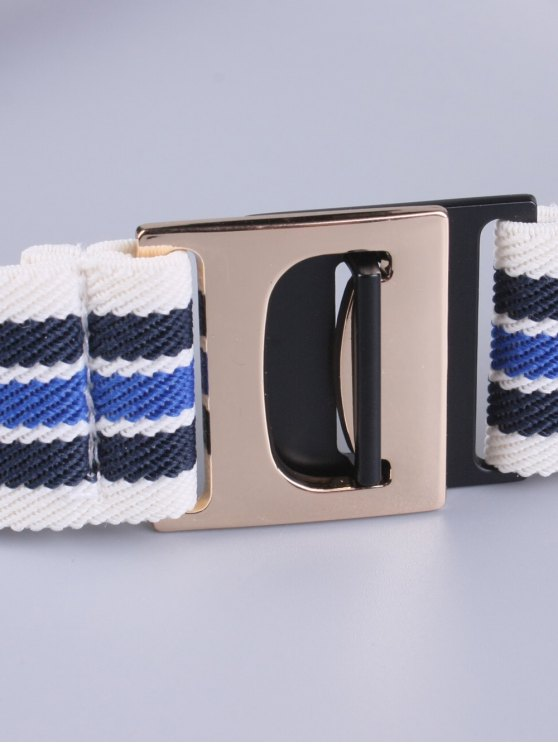 Striped Elastic Wide Belt - BLUE  Mobile