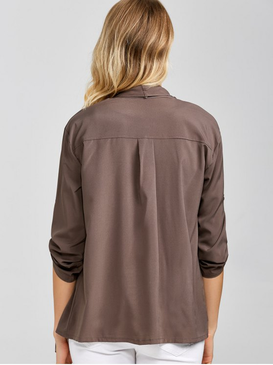 Casual Asymmetric Duster Coat - BROWN ONE SIZE Mobile
