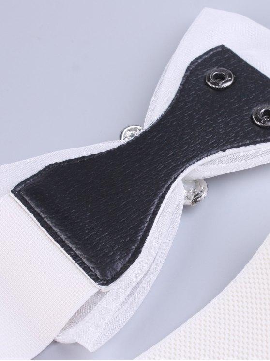 Bowknot Rhinestone Elastic Wide Belt - WHITE  Mobile