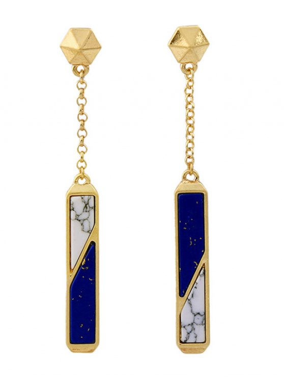 Two Tone Faux Gem Drop Earrings -   Mobile