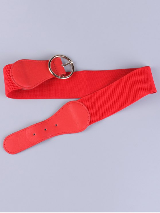 Bowknot Round Buckle Elastic Belt - RED  Mobile