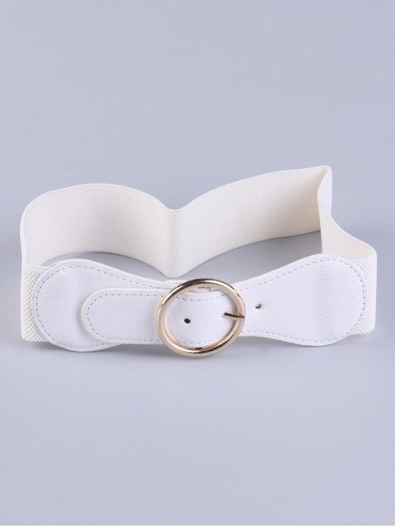 sale Bowknot Round Buckle Elastic Belt - WHITE