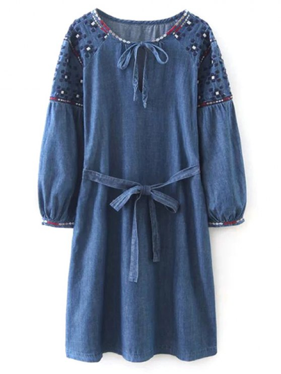 Embroidered Long Sleeve Vintage Dress - BLUE L Mobile