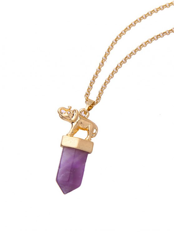 Faux Amethyst Bullet Elephant Necklace - GOLDEN  Mobile