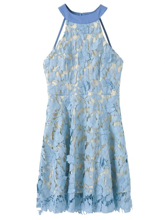 Floral Applique Lace Skater Dress - BLUE S Mobile