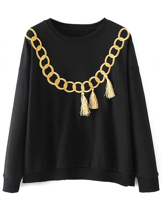 Embroidered Fringed Sweatshirt - BLACK S Mobile