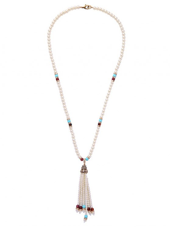 Faux Pearl Tassel Crystal Necklace -   Mobile