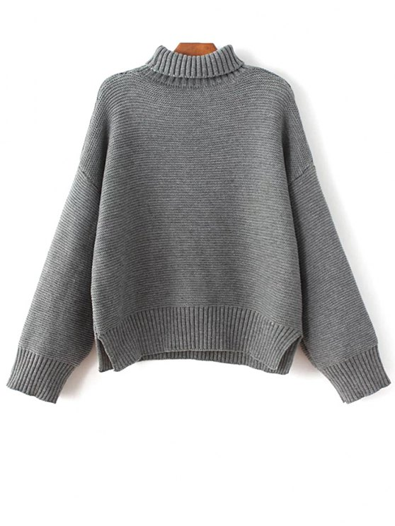 buy Oversized Turtle Neck Sweater - GRAY ONE SIZE