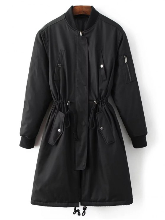 Skirted Utility Coat - BLACK S Mobile